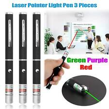 3 X Lápiz Láser Haz de Luz Verde + Azul + Rojo Lazer puntero de luz 3 piezas nuevo Reino Unido