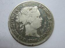 1868 ISABEL II 20 CENTAVOS DE PESO MANILA PHILIPPINES SPAIN SPANISH