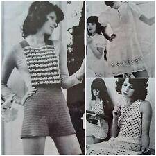 1960s Hot Pants Overalls Shorts Summer A Line Dress Crochet Pattern Patons 987