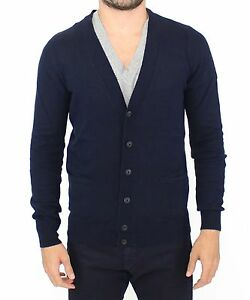 ERMANNO SCERVINO Blue Wool Cashmere Cardigan Pullover Sweater IT52 / L NEW