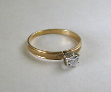 10k Yellow Gold Burnished Engagement Style Band w/Diamond Solitaire~~Sz 6.75