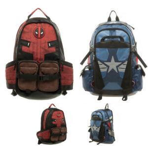 NEW Marvel Comic Deadpool Captain America Backpack Laptop Travel Bag SchoolBag@