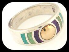 Black Hills Designer Coleman CCO 14K Gold 925 Sterling Silver Inlay 3 Gems RING