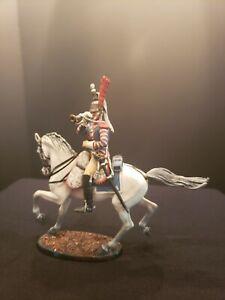 "54mm metal St. Petersburg ""HM"" mounted Napoleonic BUGLER figure."