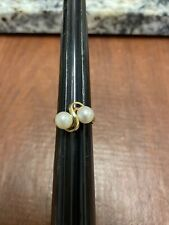 Vintage Solid 14k Yellow Gold 2 Pearl Ring Size 6.75 - 3.29g Not Scrap