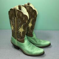 Ariat 15545 Mint Green Brown Leather Point Toe Women Cowgirl Western Boots Sz 7B