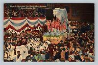 New Orleans LA, Mardi Gras Parade Floats Vintage Linen Louisiana c1950 Postcard