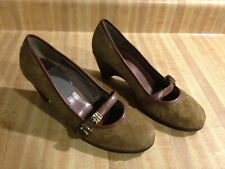 ETIENNE AIGNER Uma Brown Quilted Suede Wedge Maryjane Buckle Pumps - Size 7.5M