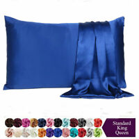 Pillowcase Queen King Standard Silk Satin Bedding Single Ultra Soft Pillow Cover