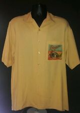 Men silk shirt short sleeve yellow vintage motorcycle racing train print large