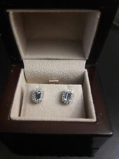 Aquamarine and Diamond Stud Earrings in 14K White Gold