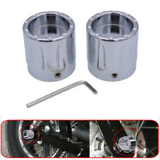 Chrome Edge Cut Front Axle Cover Cap Nut For Harley Sportster XL1200 XL883 Slive