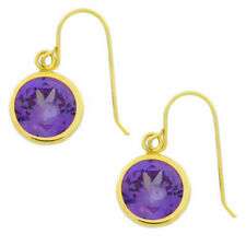 14Kt Yellow Gold Amethyst Round Bezel Dangle Earrings