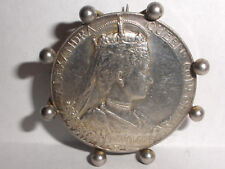 Antique 1902 King Edward VII & Queen Alexandra Silver Coronation Medal brooch