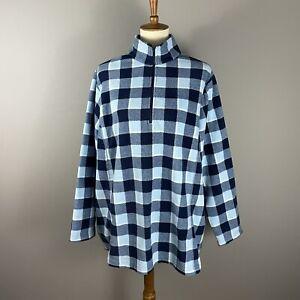 Lands End Pullover Fleece Size 2X Blue Check Plaid 1/4 Zip Long Sleeve Warm