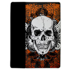 Protective Leather/Suede Case Fits iPad 2/3 Cover - Orange Grunge Skull -