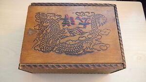 RARE Vintage MAHJONG Game w/Wood Tiles & Betting Stick Bones in orig box 1920's