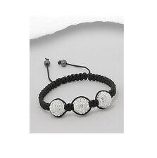 Black Macrame 3 Crystal Bead Adjustable Shamballa Bracelet