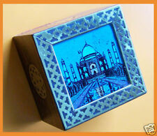 UNIQUE GEMSTONE PAINTING WOOD PAPERWEIGHT FROM INDIA!!
