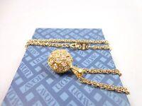 Vintage Avon Gold tone Necklace evening drama ball shape Pendant Rhinestone AV27
