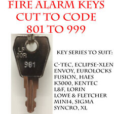 Fire Alarm Panel/Fire Isolation Switch Replacement Keys Cut to Code 801 to 999