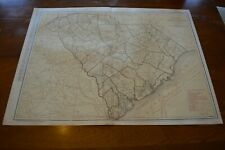 Large Format 1924 Map Of South Carolina - Railroads Keyed In Red & Labelled