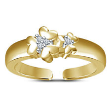 Heart Double Flower Adjustable Toe Ring 14K Yellow Gold Finish Cubic Zirconia