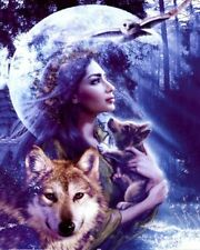UK Full Drill, Square Diamonds ,Wolf Girl Diamond Painting Kit LARGE
