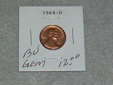 "1964 D LINCOLN MEMORIAL PENNY BU ""GEM"" CONDITION"