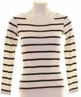 GANT Womens Top Long Sleeve UK 6 XS White Striped  FP05