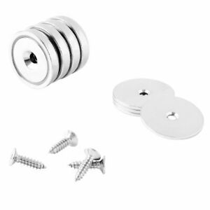 32mm Neodymium Rare Earth Countersunk Cup/Pot Mounting Magnets N42 (4 Pack)