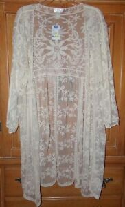 NWT DIZZY LIZZY WOMENS SIZE L CREAM IVORY 3/4 SLEEVE LACE DUSTER LONG CARDIGAN