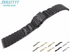 20mm Watch Bracelet Stainless Steel Black Hard Mesh Brushed Buckle Classic New