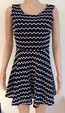 River Island Navy White Crocheted Lace Skater Dress Size 12 #R2