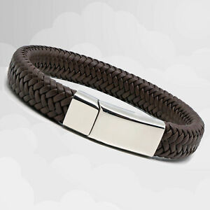 Mens Luxury Brown Leather Braided Wristband Wrap Bracelet Magnetic Steel Clasp