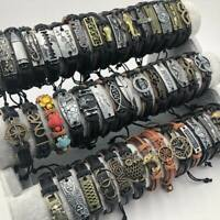 30pcs Mixed Styles Vintage mens Alloy leather Cuff Bracelets Jewelry Wholesale
