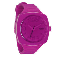 NIXON Women's A265-644 Analog Shocking Pink Dial Fun Watch Silicone Plastic New!