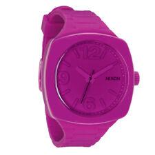 NIXON Women's A265-644 Analog Shocking Pink Dial Fun Watch Silicone Plastic New!
