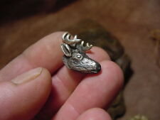 silver 10pt DEER HEAD necklace hat pin tie tack antlers antler horn shed archery
