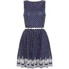 NWT Yumi sz UK 12 US 6/8 dress Modcloth polka dot dress fit & flare M cream navy