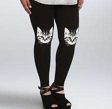 TRENDY TORRID WOMEN'S  BLACK WHITE CAT HEAD KNEE LEGGINGS PLUS Sz 4 4X