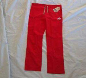 Wonderwink Scrubs Women's Ohio State Drawstring Red Scrub Pants Size Small