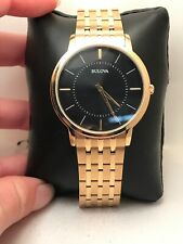 Bulova Classic Ultra Slim Black Dial Gold Tone Stainless St Mens Watch 97A127-HG