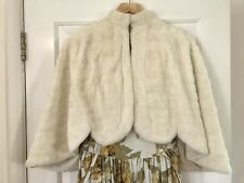 Vintage Winter Wedding Bridal Shrug Cape Real Fur Mink Ermine Soft Warm 8 10 12