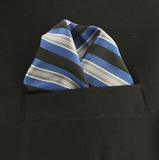 "Pocket Square Mens Hanky Blue Taupe White Stripe 10"" Dress Suit Handkerchief New"