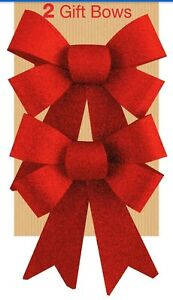 2 Glitter Bows Red 0r silver Christmas Decoration Present Celebration Christmas