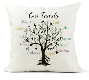 Personalised Family Tree Scatter Cushion. Grandparents/Friend/Mother's Day Gift