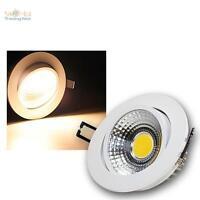 LED-Alu-Einbaustrahler 7W COB warmweiß, 230V, Deckenleuchte, Einbauleuchte SPOT