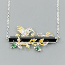 Handmade Natural Spinel 925 Sterling Silver Necklace Length 19/N03210