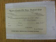Condado de chicos Antiguo 10/04/1936 Leyton: tarjeta de selección V Antiguo hendonians, como enviado a P